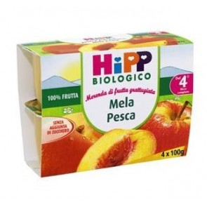 HIPP BIO HIPP BIO FRUTTA GRATTUGGIATA MELA PESCA 4X100 G