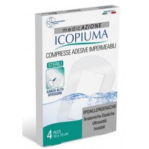 GARZA COMPRESSA ICOPIUMA MEDICATA POSTOPERATORIA 10X15 CM 4 PEZZI