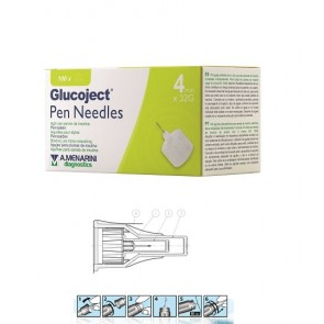 AGO PER PENNA DA INSULINA GLUCOJECT PEN NEEDLES LUNGHEZZA 4 MM GAUGE 32 100 PEZZI
