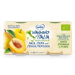 MELLIN VIAGGIO ITALIA BIO OMOGENEIZZATO MELA+PERA+PESCA PERCOCA 2 X 100 G