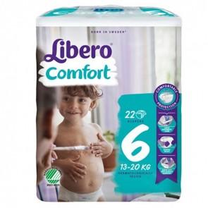 LIBERO COMFORT 6 PANNOLINO PER BAMBINO TAGLIA 13-20 KG 22 PEZZI